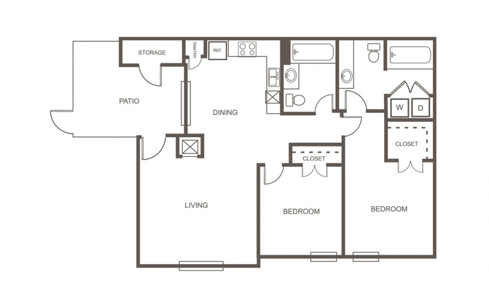 A - 2 bedroom floorplan layout with 2 bath and 935 square feet (1st floor 2D)