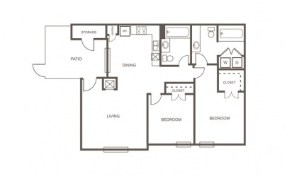 A - 2 bedroom floorplan layout with 2 bath and 935 square feet