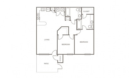 B - 2 bedroom floorplan layout with 2 bath and 935 square feet