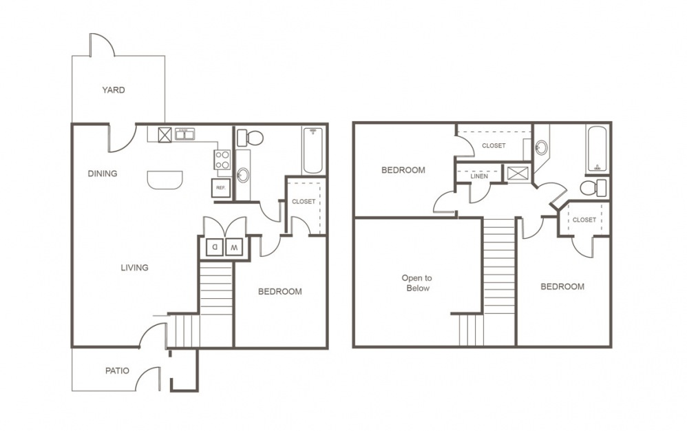 C - 3 bedroom floorplan layout with 2 bath and 1240 square feet (1st floor 2D)