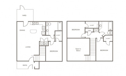 C - 3 bedroom floorplan layout with 2 bath and 1240 square feet